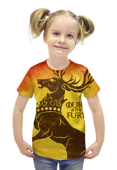 """Футболка с полной запечаткой для девочек """"Игра престолов. Баратеоны"""" - игра престолов, game of thrones, house baratheon, песнь льда и пламени, баратеон"""