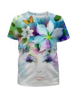 """Футболка с полной запечаткой для девочек """"Цветы"""" - арт, бабочка, девушка, цветы, весна"""