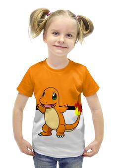 """Футболка с полной запечаткой для девочек """"Покемон Чармандер"""" - pokemon, покемон, ящерица, чармандер, charmander"""
