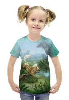 """Футболка с полной запечаткой для девочек """"Звериная Роща"""" - арт, авторские майки, лошадь, фантазия, сказочный лес"""