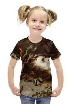 """Футболка с полной запечаткой для девочек """"Голова Медузы (Рубенс)"""" - змеи, голова медузы, рубенс"""