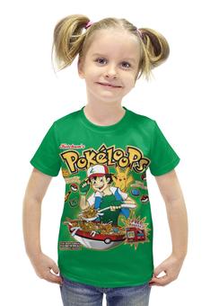 """Футболка с полной запечаткой для девочек """"Pokeloops """" - покемоны, покебол"""