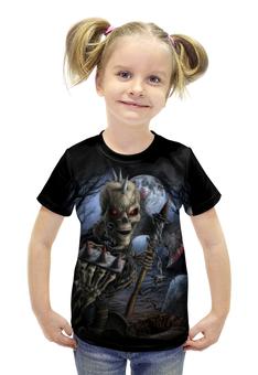 """Футболка с полной запечаткой для девочек """"Скелет с топором"""" - skull, череп, skeleton, скелет, кровь"""