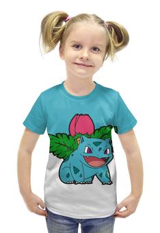 """Футболка с полной запечаткой для девочек """"Покемон Ивизавр"""" - pokemon, покемон, ivysaur, травяной, илизавр"""