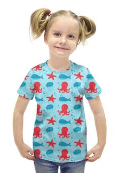 """Футболка с полной запечаткой для девочек """"Морские глубины"""" - звезда, море, кит, осминог, медуза"""