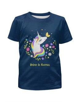 """Футболка с полной запечаткой для девочек """"Единорог """" - бабочка, цветы, мультик, волшебство, магия"""