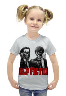 """Футболка с полной запечаткой для девочек """"Pulp Fiction"""" - череп, tarantino, тарантино, криминальное чтиво, pulp fiction"""
