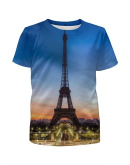 """Футболка с полной запечаткой для девочек """"Париж"""" - страны, город, дизайн, франция, париж"""