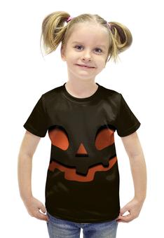 """Футболка с полной запечаткой для девочек """"Тыква (Happy Halloween)"""" - тыква, happy halloween, привидение"""