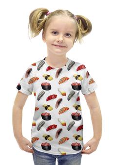 """Футболка с полной запечаткой для девочек """"Суши-Арт"""" - еда, суши, япония, рыба, меню"""