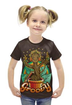 """Футболка с полной запечаткой для девочек """"Грут (Groot)"""" - грут, guardians of the galaxy, groovy, стражей галактики"""