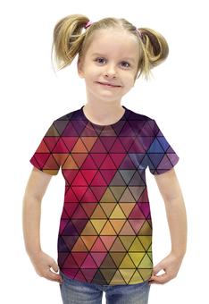 """Футболка с полной запечаткой для девочек """"Мозаика """" - мозаика, цвет, абстракция"""