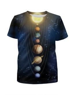 """Футболка с полной запечаткой для девочек """"Планеты солнечной системы"""" - солнце, космос, планеты"""