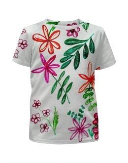 """Футболка с полной запечаткой для девочек """"Цветы на белом"""" - цветы, листья, весна, счастье, красные цветы"""