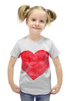 """Футболка с полной запечаткой для девочек """"Red heart"""" - сердце, красное сердце, большое сердце"""