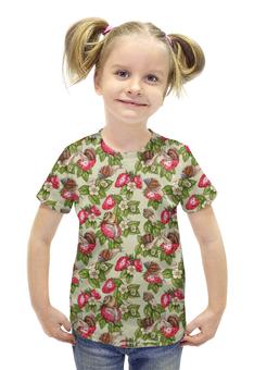 """Футболка с полной запечаткой для девочек """"Счастливые улитки"""" - красный, клубника, зеленый, паттерн, улитки"""