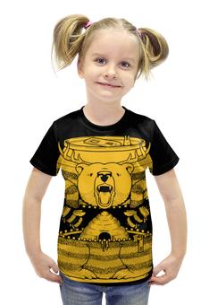 """Футболка с полной запечаткой для девочек """"Bear Beer /Медведь"""" - арт, медведь, пиво, мед, пчелы"""