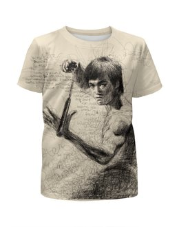"""Футболка с полной запечаткой для девочек """"Bruce Lee"""" - karate, bruce lee, fighter, карате, брюс ли"""
