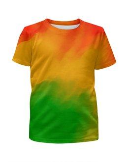 """Футболка с полной запечаткой для девочек """"Радужный"""" - радуга, рисунок, картина, краски, цветные краски"""