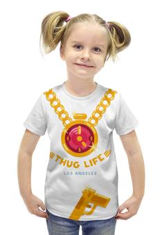 """Футболка с полной запечаткой для девочек """"Thug Life (Los Angeles)"""" - rap, hip-hop, бандит, громила"""
