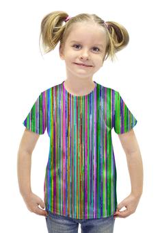 """Футболка с полной запечаткой для девочек """"glitch art (полосы)"""" - полоски, glitch, wax, глитч, глюк"""