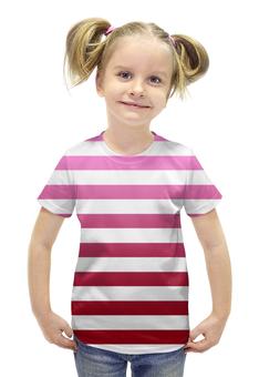 """Футболка с полной запечаткой для девочек """"Lines"""" - вишня, цвет, абстракция, градиент"""