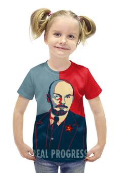"""Футболка с полной запечаткой для девочек """"Ленин"""" - рисунок, ленин"""