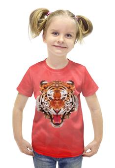 """Футболка с полной запечаткой для девочек """"Полигональный тигр"""" - арт, красный, дизайн"""