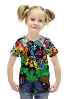 """Футболка с полной запечаткой для девочек """"Marvel heroes"""" - комиксы, герои, marvel, heroes, deadpool"""