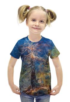 """Футболка с полной запечаткой для девочек """"Космическая сосна"""" - космос, лес, графика, синий, дерево"""