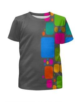 """Футболка с полной запечаткой для девочек """"Квадраты"""" - узор, графика, кубики, геометрия, квадраты"""