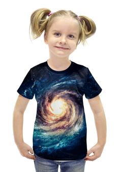 """Футболка с полной запечаткой для девочек """"галактика"""" - звезды, космос, спираль, красота, галактика"""