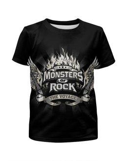 """Футболка с полной запечаткой для девочек """"Monsters Of Rock"""" - музыка, рок музыка, rock music, monsters of rock, монстры рока"""