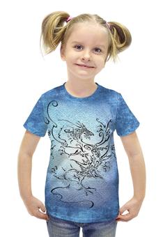 """Футболка с полной запечаткой для девочек """"Дракон-ветер"""" - авторские майки, дракон, графика, татуировка"""