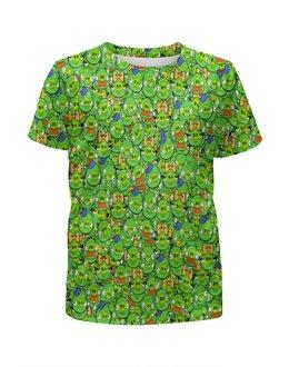 """Футболка с полной запечаткой для девочек """"Angry Birds"""" - зеленый, свиньи, мульт, angry birds, энгри бёрдз"""