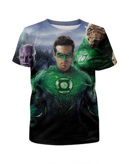 """Футболка с полной запечаткой для девочек """"Зелёный Фонарь / Green Lantern"""" - рисунок, комиксы, супергерои, зеленый фонарь"""