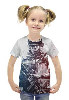 """Футболка с полной запечаткой для девочек """"Солдат (Battlefield)"""" - солдат, battlefield, батла, баттлфилд"""
