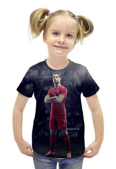 """Футболка с полной запечаткой для девочек """"Ronaldo"""" - футбол, real madrid, реал мадрид, криштиану роналду, португалия"""