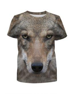 """Футболка с полной запечаткой для девочек """"WOLF  """" - хищник, зверь, волк, wolf"""