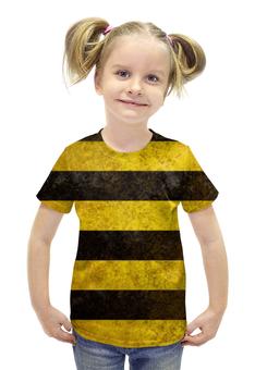 """Футболка с полной запечаткой для девочек """"Полосы 4"""" - чёрный, жёлтый, полосы"""