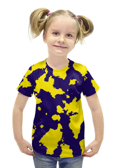 """Футболка с полной запечаткой для девочек """"Жёлто-Синий Камуфляж"""" - армия, камуфляж, camouflage, военный, жёлто синий камуфляж"""