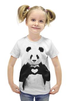 """Футболка с полной запечаткой для девочек """"Панда"""" - животные, панда"""