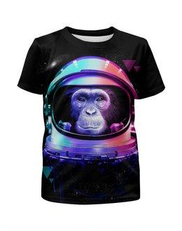 """Футболка с полной запечаткой для девочек """"Обезьяна космонавт"""" - космос, абстракция, обезьяна, космонавт"""