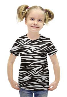 """Футболка с полной запечаткой для девочек """"Зебра"""" - узор, стиль, зебра, рисунок, звериный"""