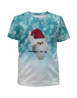 """Футболка с полной запечаткой для девочек """"Новый год"""" - новый год, снег, сова, снежинки, дед мороз"""