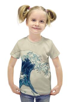"""Футболка с полной запечаткой для девочек """"Волна Японское Искусство Хокусай"""" - волна, japan, wave, picture, hokusai"""