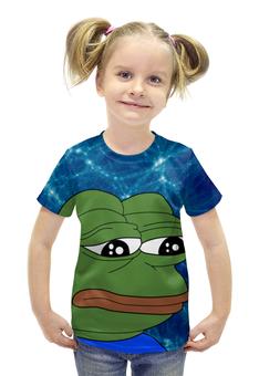 """Футболка с полной запечаткой для девочек """"SAD FROG"""" - арт, юмор, мем, грустная лягушка, sad frog"""