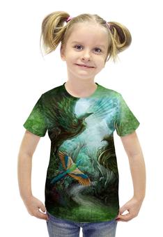 """Футболка с полной запечаткой для девочек """"Птичья Роща"""" - арт, авторские майки, птицы, лес, зеленый"""