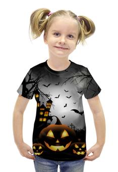 """Футболка с полной запечаткой для девочек """"Хэллоуинская ночь"""" - крест, тыква, привидения, хэллоуинская ночь, haunted house"""