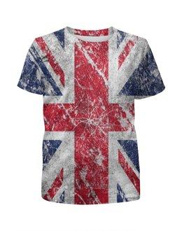 """Футболка с полной запечаткой для девочек """"Флаг Великобритании"""" - англия, great britain, британский флаг"""